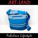 Beuteltasche / India Bag türkis weiß blau meliert