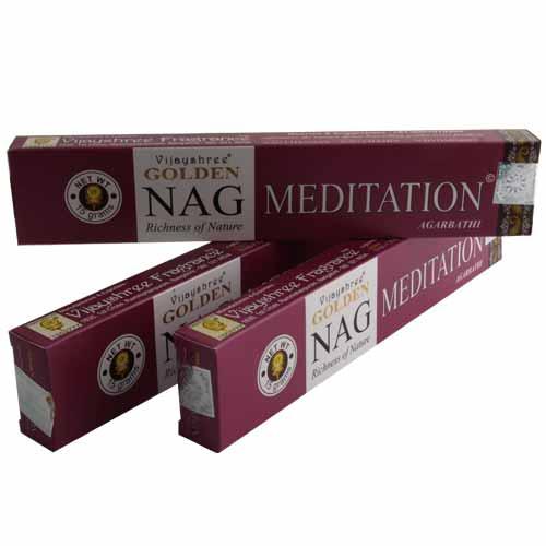 3er Set Räucherstäbchen Golden Nag Meditation
