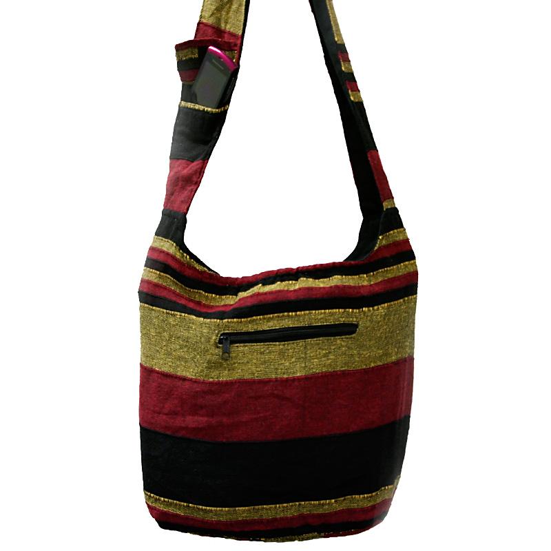 Beuteltasche / India Bag weinrot, gelb, schwarz
